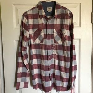 Vans Flannel Maroon (Red) / Gray / White